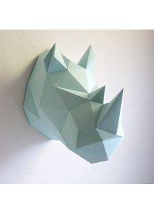 Throphée origami mural en papier Rhino Menthe- Assembli