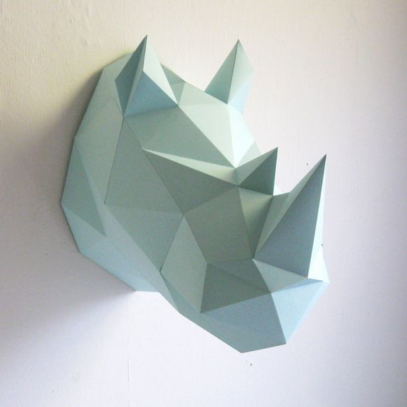 Wall hanging - Rhino DIY paper kit - mint - Assembli