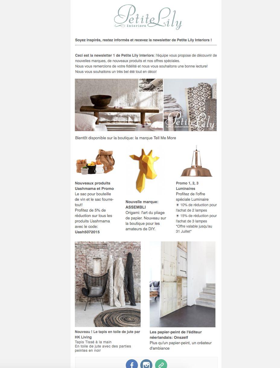 Petite Lily Interiors Newsletter de Juillet 2015