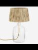 Madam Stoltz Table Lamp Glass  & raffia - Ø30xh49cm
