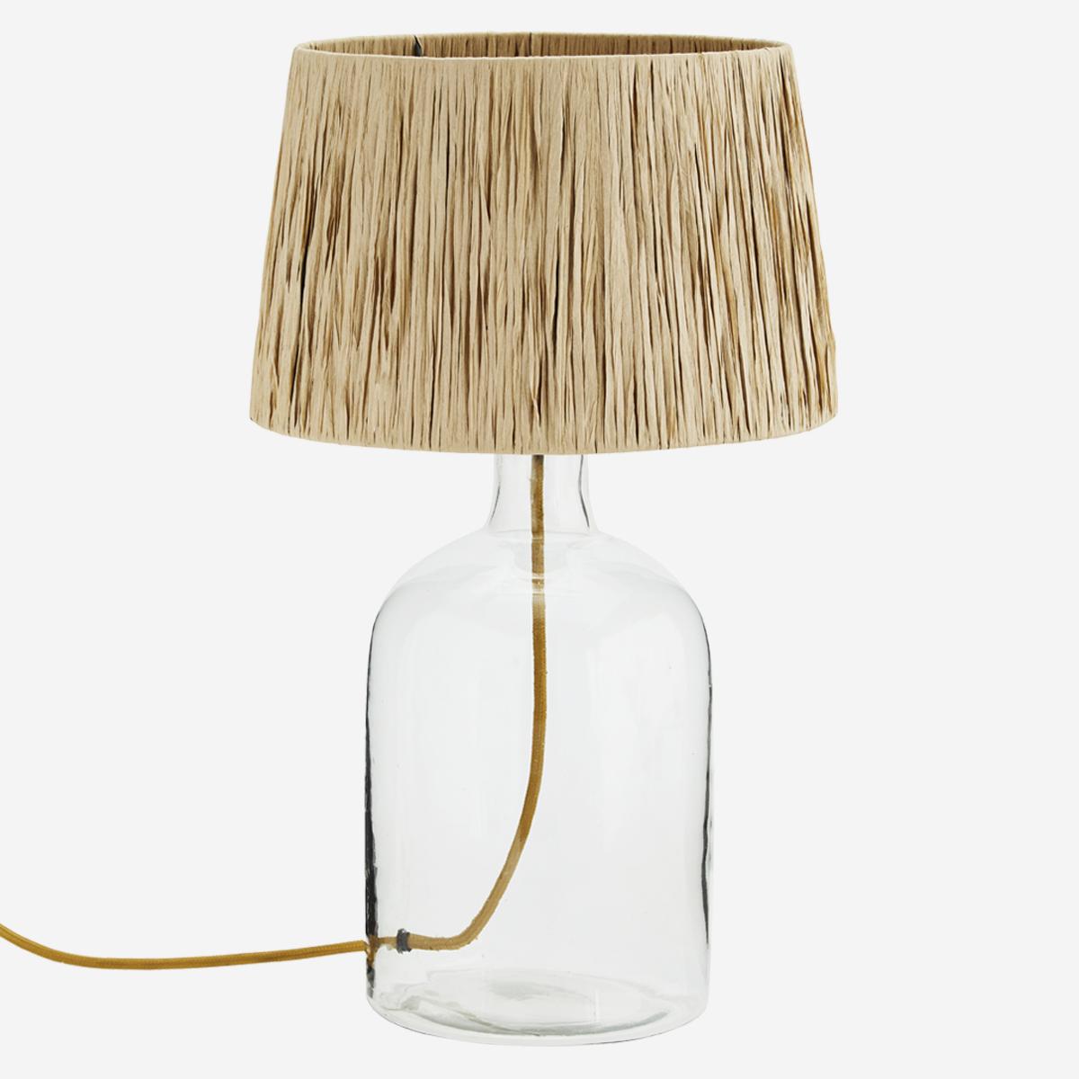 Madam Stoltz Lampe de bureau en verre, terre cuite / raphia - Ø30xh49cm
