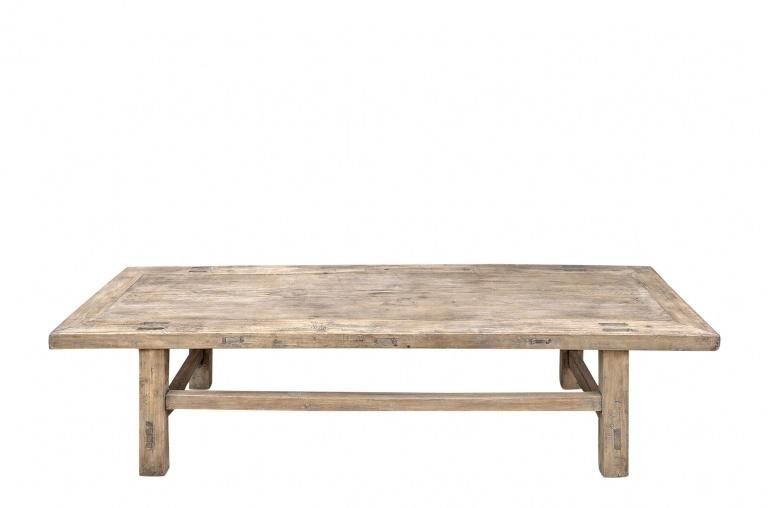 Snowdrops Copenhagen Table basse vintage bois d'orme - L150x47xh39cm - pièce unique