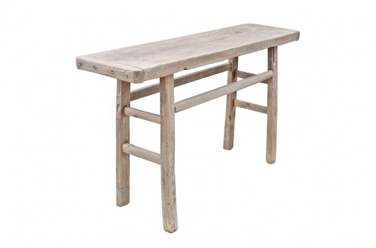 Petite Lily Interiors Table console vintage en Bois d'orme - Piece Unique - L134x39xh78cm