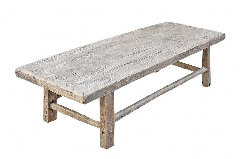 Snowdrops Copenhagen Coffee table vintage Elm Wood - L130x46xh35cm - unique piece