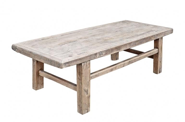 Snowdrops Copenhagen Table basse vintage bois d'orme brut - L135x56xh43cm - pièce unique