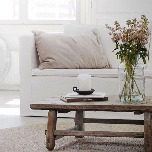 Snowdrops Copenhagen Table basse vintage bois d'orme brut - L125x41xh38cm - pièce unique