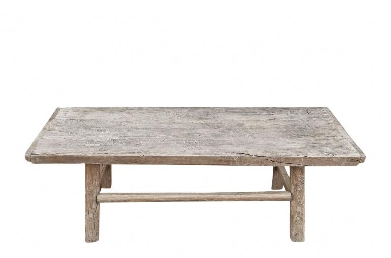 Snowdrops Copenhagen Table basse vintage bois d'orme brut - L126x57xh45cm - pièce unique