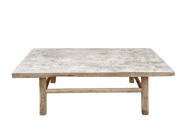 Snowdrops Copenhagen Table basse vintage bois d'orme brut - L126x66xh43cm - pièce unique
