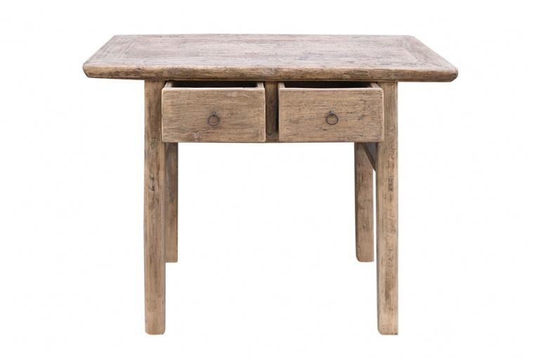 Petite Lily Interiors Console Table Vintage bois brut 2 tiroirs - L100x46xH81cm - pièce unique