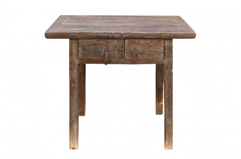 Petite Lily Interiors Console Table Vintage bois brut 2 tiroirs - L95x55xh88cm - pièce unique