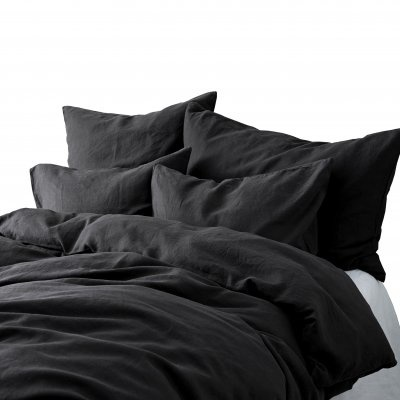 Tell me more Duvet cover 100% stonewashed linen - 220x240 - carbon - Tell me more