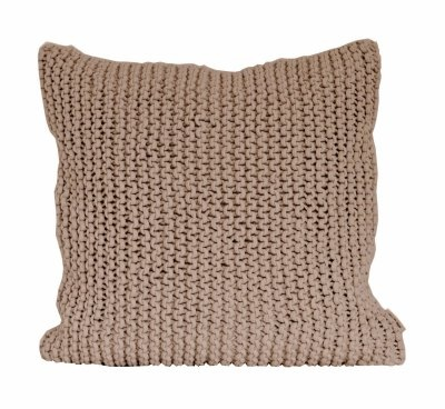 Tell me more Knitted rope cushion cover - 50x50cm - chestnut