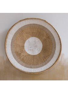 Petite Lily Interiors Tonga basket natural M - Gold Striped - Ø41-45cm