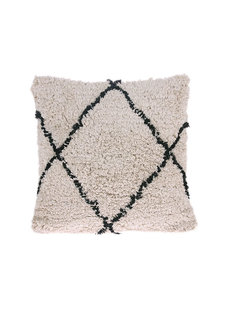 Petite Lily Interiors Coussin en coton Berbère - crème/noir - 50x50cm
