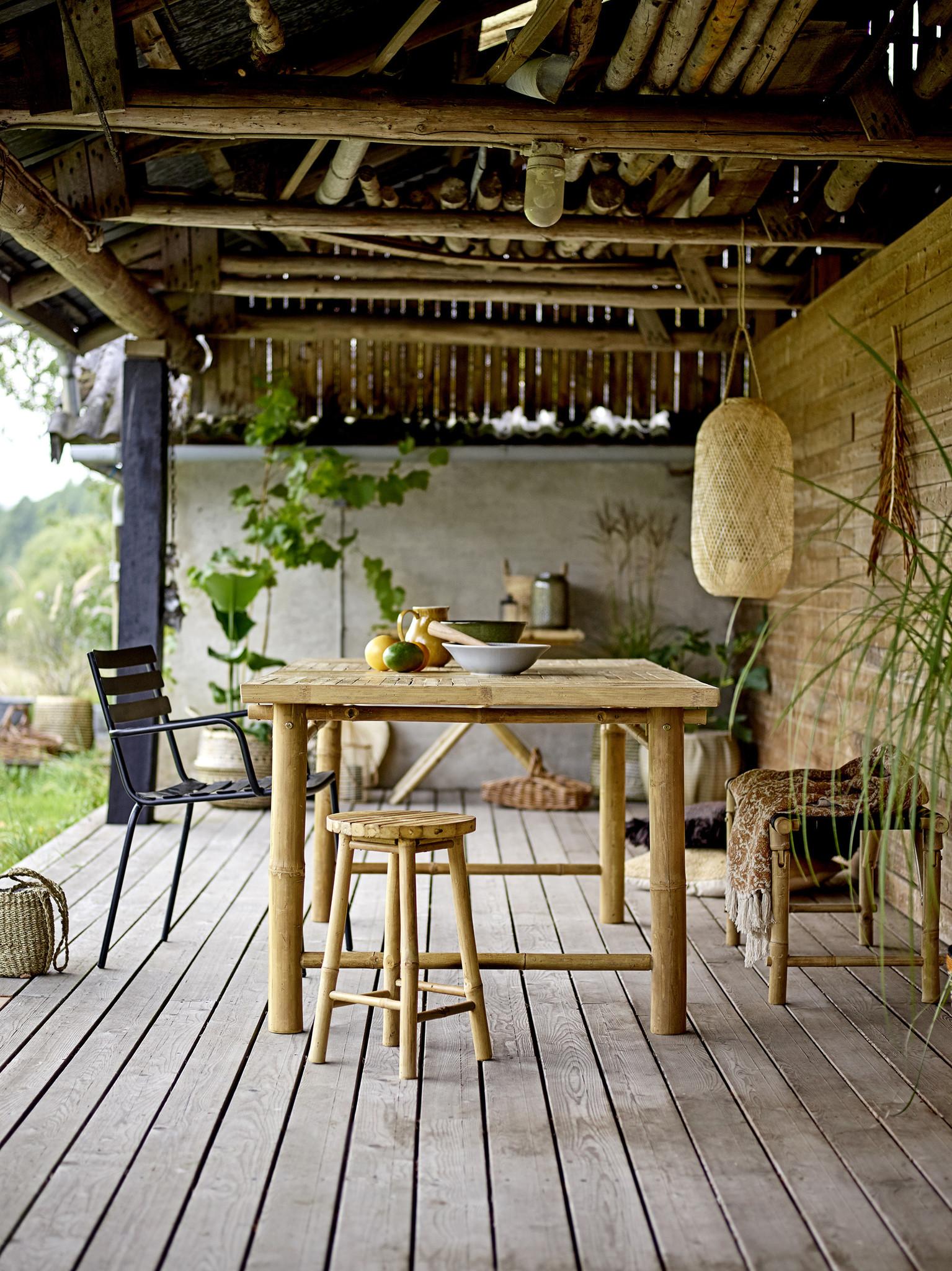 Bloomingville Lanterne bambou et verre - D35xH60 - naturel