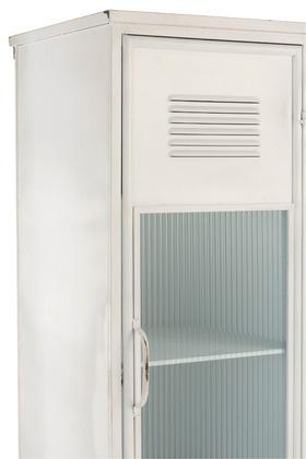 White cabinet - metal & glass - L127xH184xW49cm