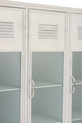 Bibliothèque / Cabinet - métal et verre - blanc - L127xH184xW49cm