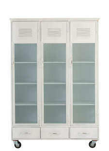 White cabinet - metal & glass - L127xH184xW49cm