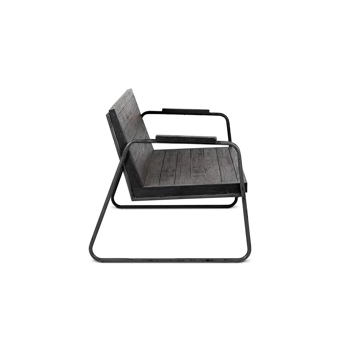 Dareels Black outdoor chair/bench teak- Outdoor - L114xH73xW78cm