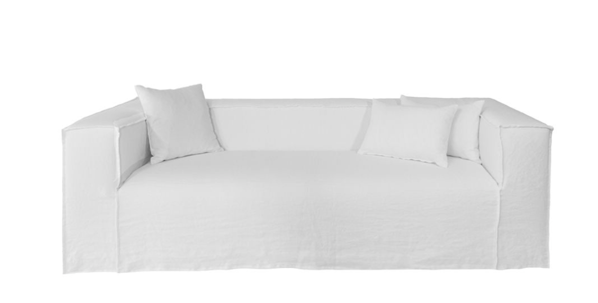 Dareels White linen Couch / Sofa Strozzi - 2PL - 220x95xH65cm