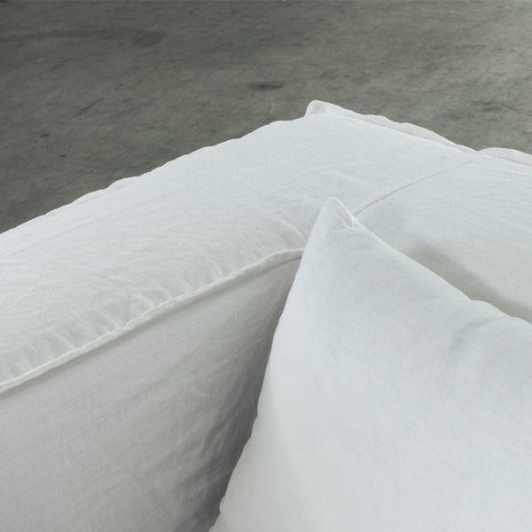 Dareels Canapé en lin Strozzi 3PL - blanc - 260x95xH65cm