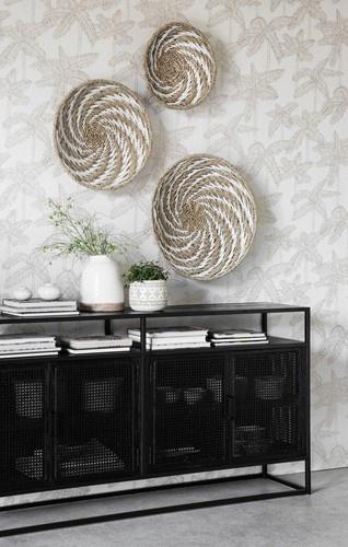 Petite Lily Interiors Set de 3 paniers ethnique mural - naturel / blanc