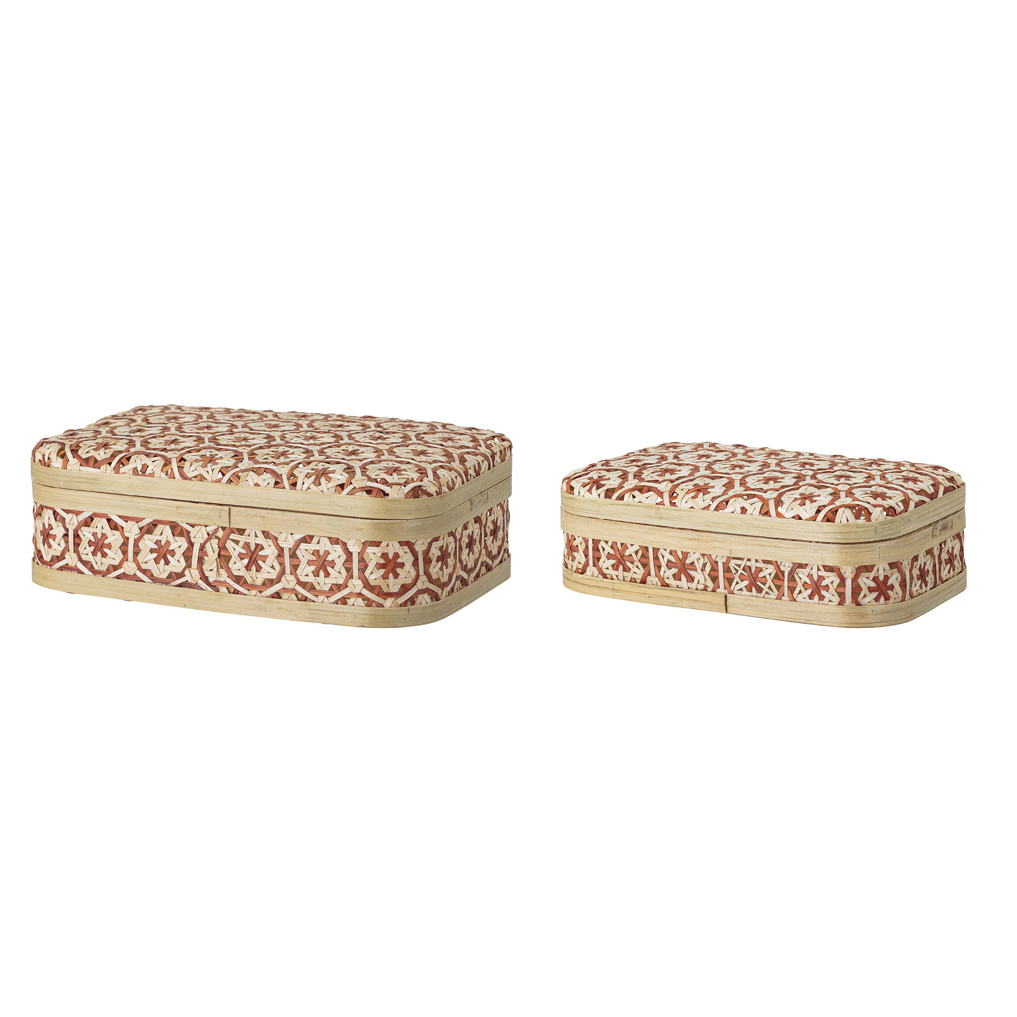 Bloomingville Set de 2 Boîtes en bambou  - naturel / rouge