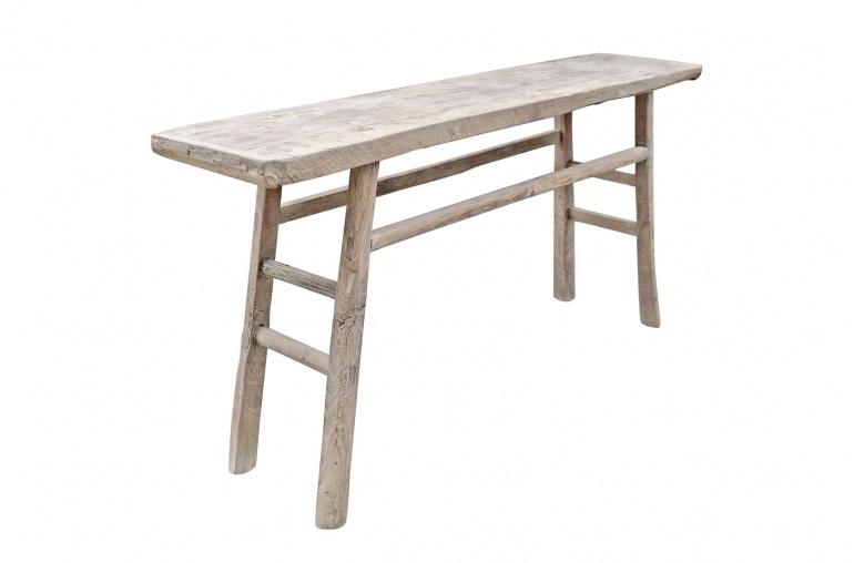 Petite Lily Interiors Table console vintage en Bois brut - 174x37xh83cm - Piece Unique