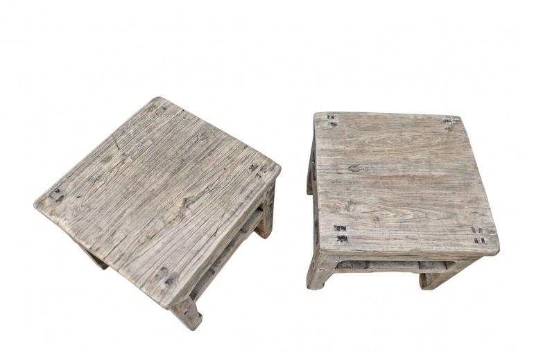 Petite Lily Interiors Set of 2 raw wood side table - elm wood - 33x33xh30cm - piece unique