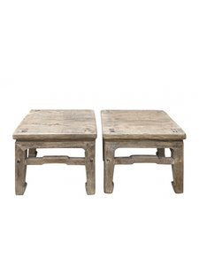 Petite Lily Interiors Lot de 2 tables chevet - bois brut - 33x33xh30cm