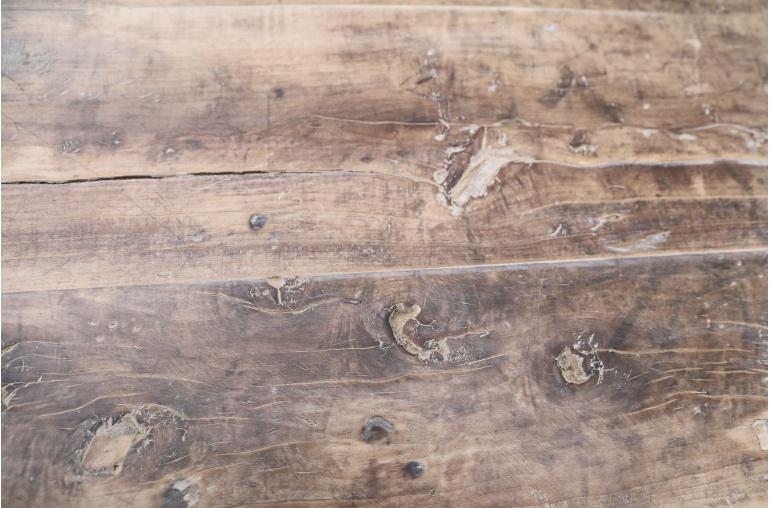 Petite Lily Interiors Table console vintage en Bois brut - W118x44xh83 - Piece Unique