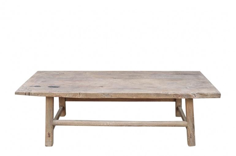 Petite Lily Interiors Table basse vintage / bois brut - 150x62xh45cm - noyer brut