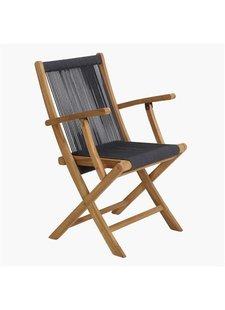Petite Lily Interiors Rope folding bistro chair - teak - anthracite - 57x50x88cm
