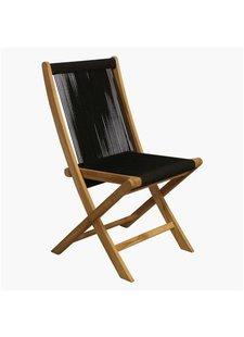 Petite Lily Interiors Rope folding bistro chair - teak - black - 50x47x87cm