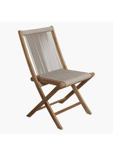 Petite Lily Interiors Rope folding bistro chair - teak - natural - 50x47x87cm
