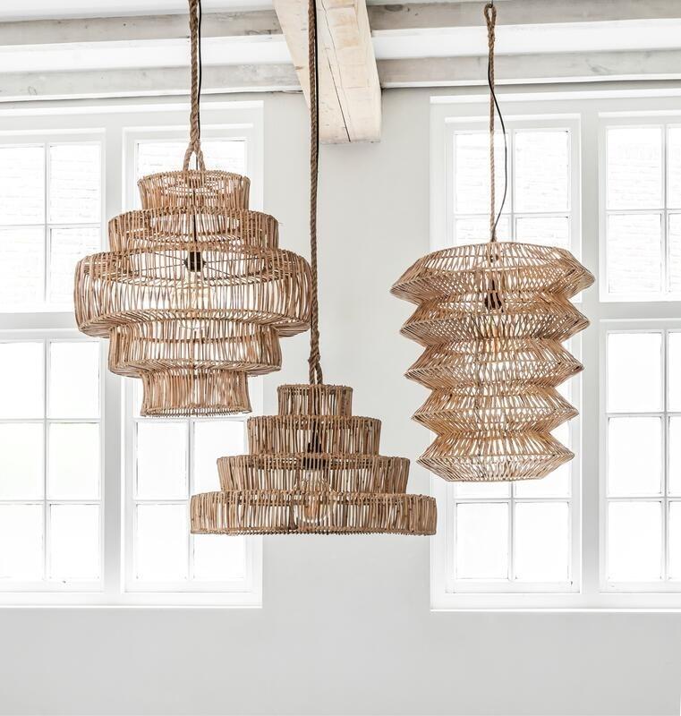 Petite Lily Interiors Rattan pendant lamp - natural - Ø60x60cm