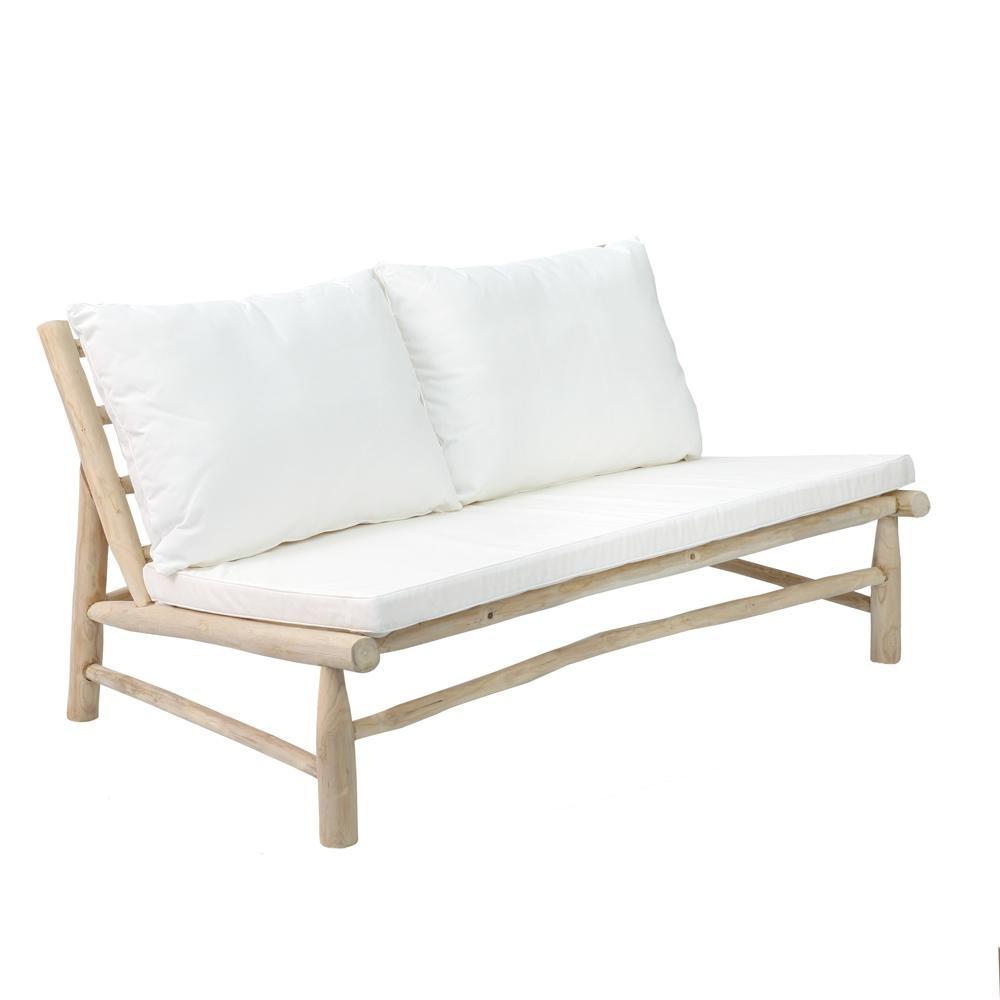 Bazar Bizar Outdoor sofa 2 seater with white cushion (140cm) - teck