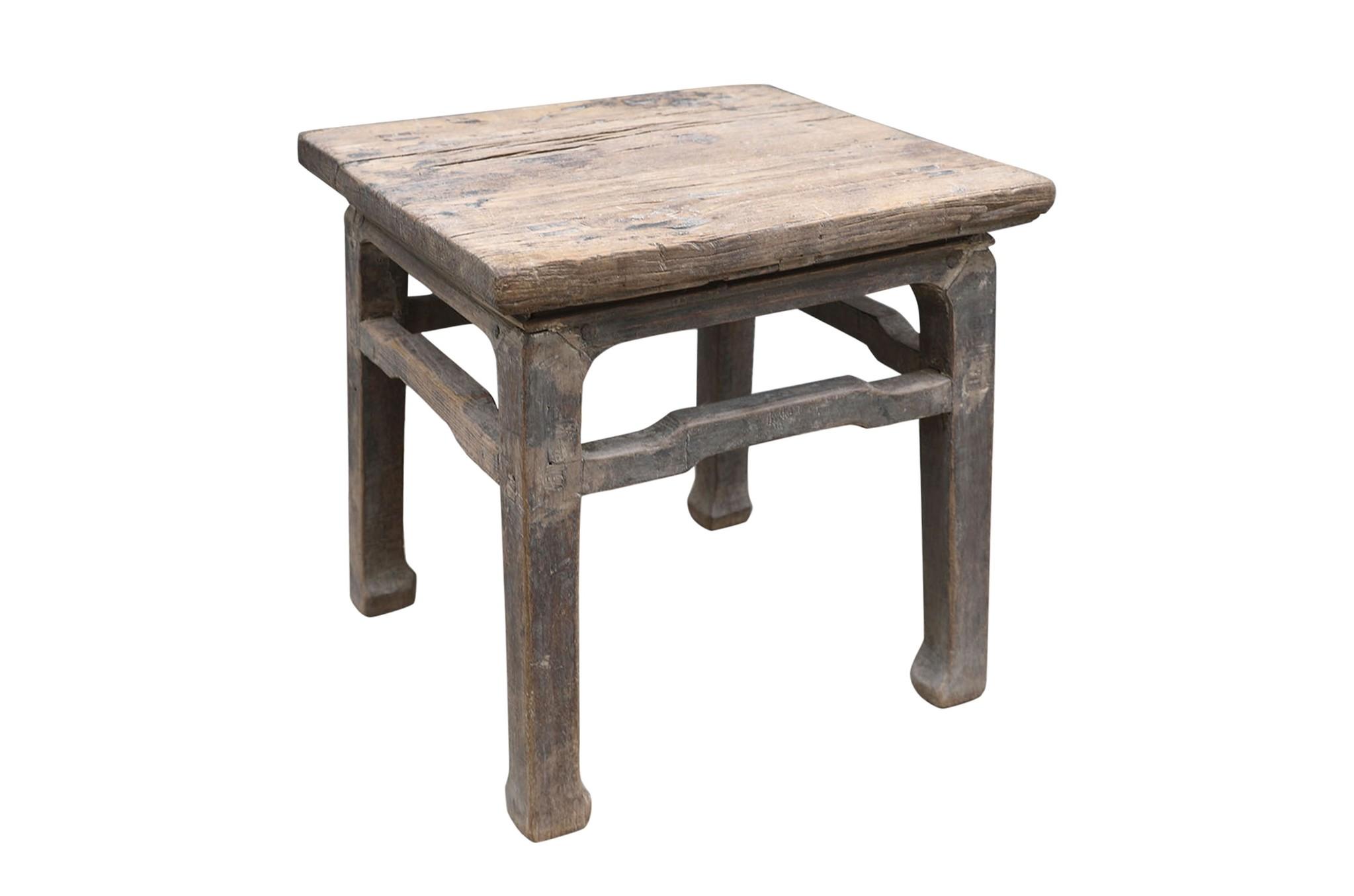 Petite Lily Interiors Vintage side table - raw elm wood - 55x55xh56cm - unique item