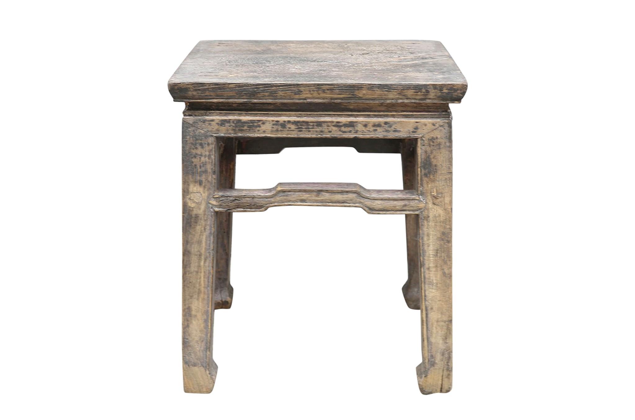 Petite Lily Interiors Vintage side table - raw elm wood - 41x32xh48cm - unique item