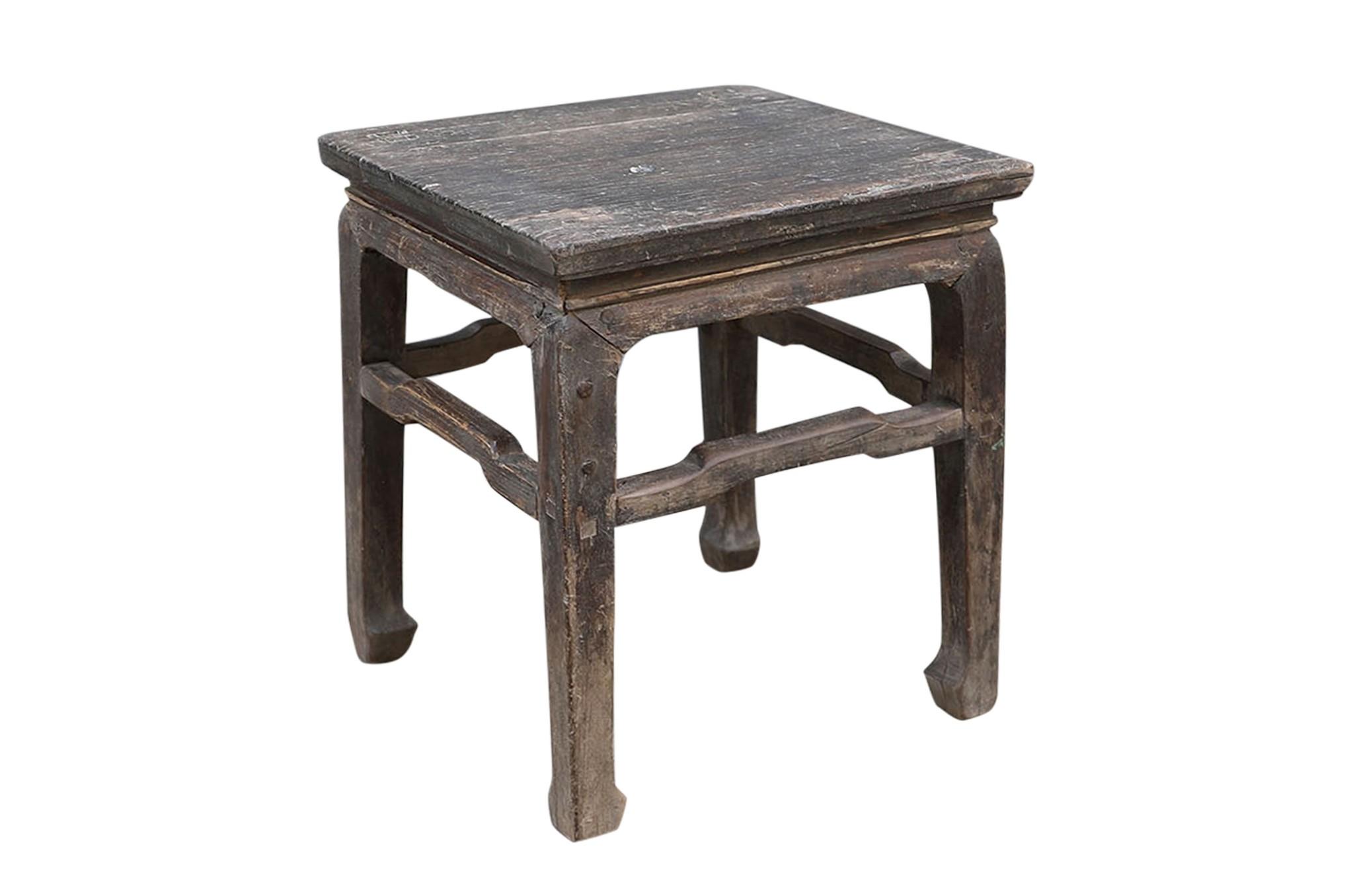 Petite Lily Interiors Vintage side table - raw elm wood - 43x43xh50cm - unique item