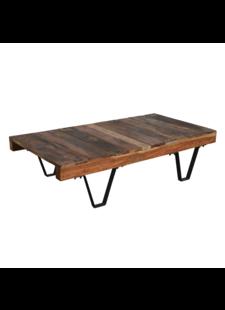 Petite Lily Interiors Table basse industrielle - métal et bois - 140x70xh35cm