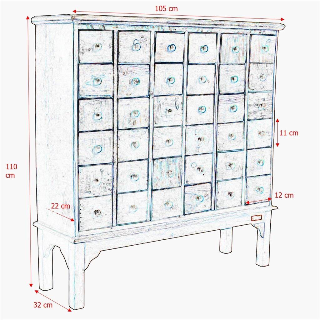 Petite Lily Interiors Meuble de métier d'atelier bois - 36 tiroirs - 105x32x110cm - Pièce unique