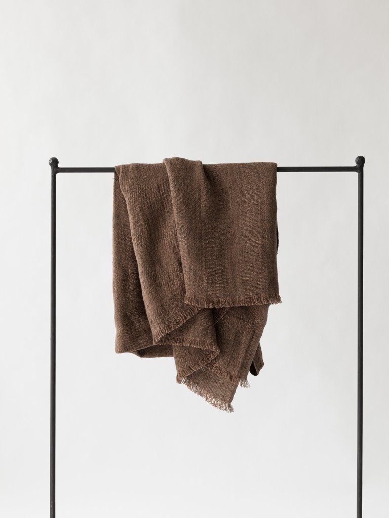 Tell me more Linen bedspread / Throw - Cinnamon / Brown - 130x170cm - Tell Me More