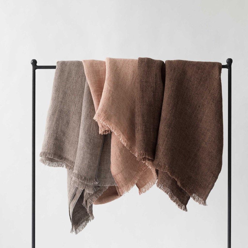 Tell me more Couvre-lit en lin / Plaid - Cannelle / marrón - 130x170cm - Tell Me More