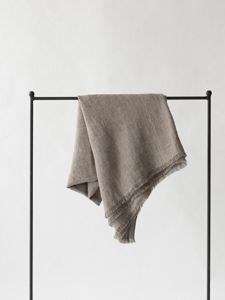 Tell me more Couvre-lit en lin / Plaid - Gris cendre - 130x170cm - Tell Me More