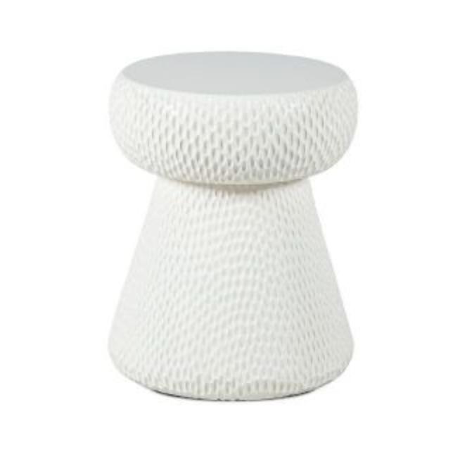 Dareels Tabouret blanc - teck - 33x33xh40cm - Dareels