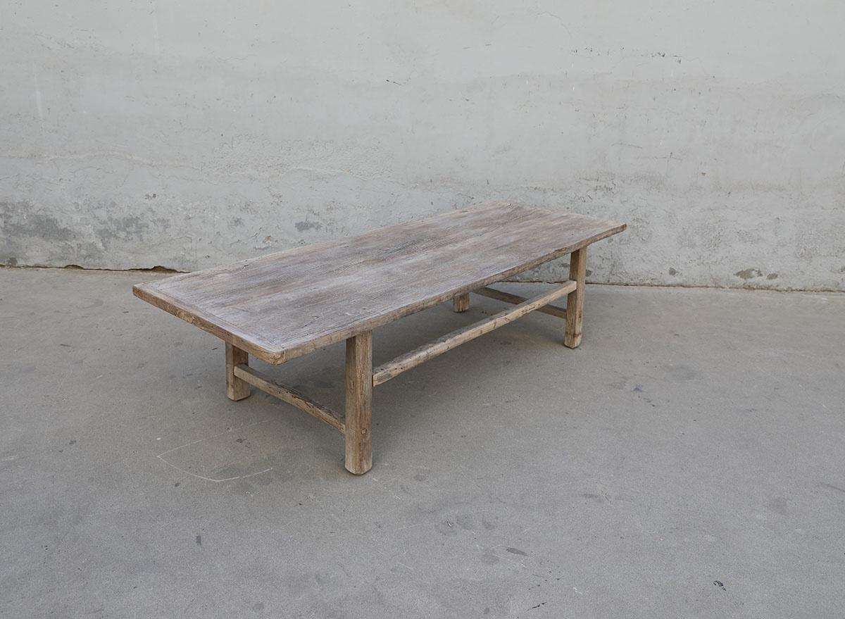 Maisons Origines Table basse vintage / bois brut - 163X61X43cm - noyer brut