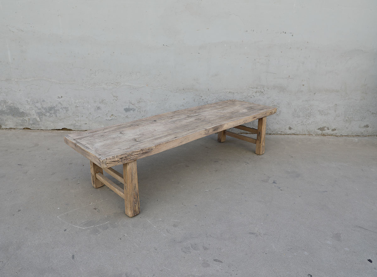 Maisons Origines Table basse vintage / bois brut - 172X50X40cm - noyer brut