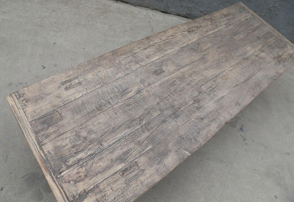 Maisons Origines Table basse vintage / bois brut - 152X56X44cm