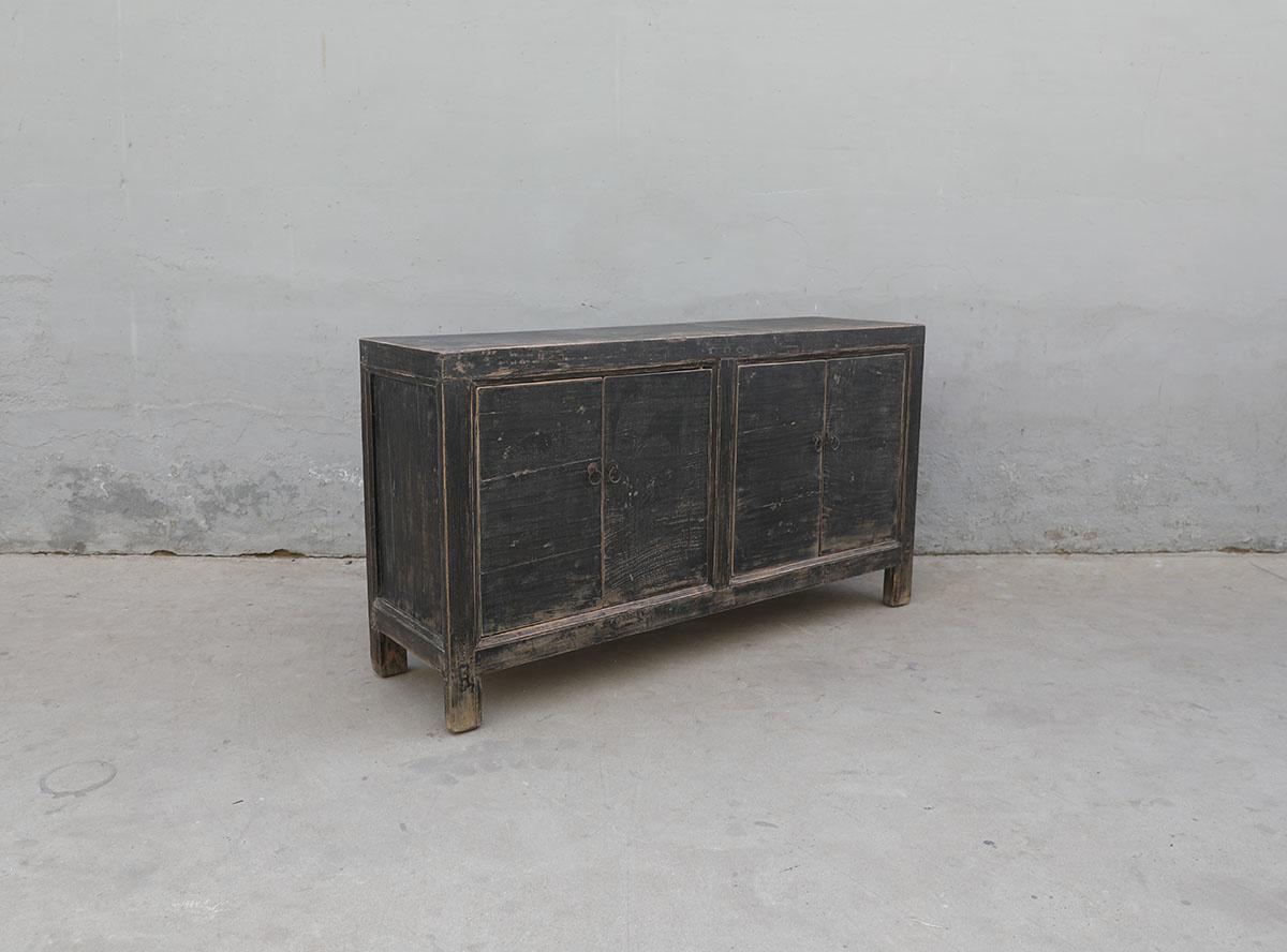 Maisons Origines Buffet Table Vintage - noir - Bois d'orme - 160X45X87cm